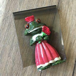 Vintage 70s Enamel Fancy Frog Pin Brooch